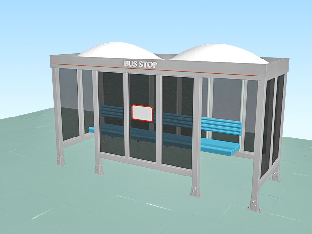 Glass bus stop shelter 3d rendering