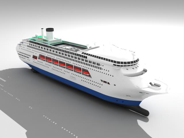 Cruise liner passenger ship 3d rendering