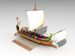 Ancient Greek warship 3d preview