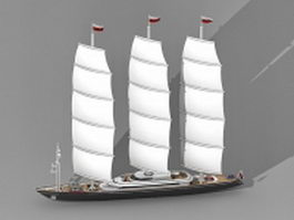 Luxury sailing yacht 3d preview