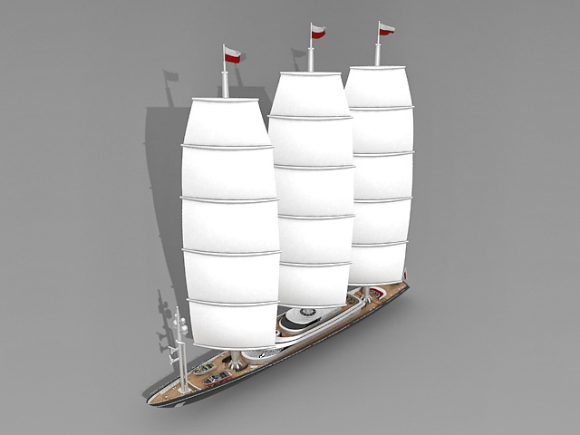 Luxury sailing yacht 3d rendering