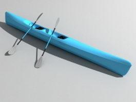 Sea kayak narrow boat 3d model preview