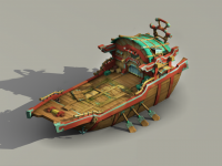 Small medieval trading ship 3d preview