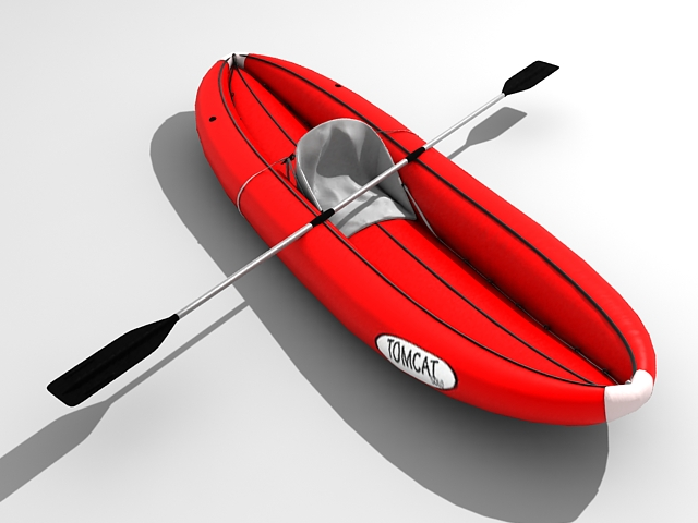 Inflatable fishing boat 3d rendering