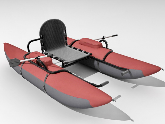 Inflatable fishing pontoon boat 3d rendering