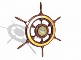 Ship wheel clock 3d model preview