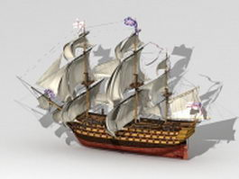 HMS Victory warship 3d model preview