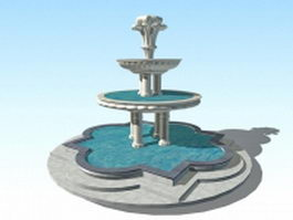 Large outdoor water fountain 3d preview