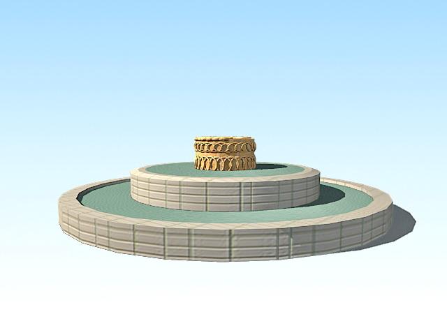 Circular fountain ring 3d rendering