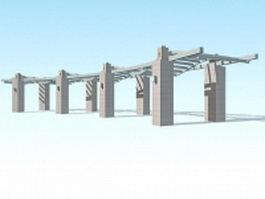 Stone pergola design 3d preview