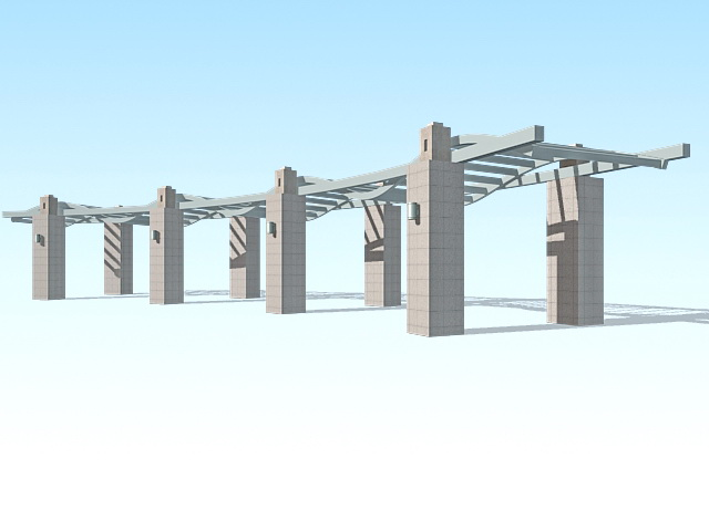 Stone pergola design 3d rendering