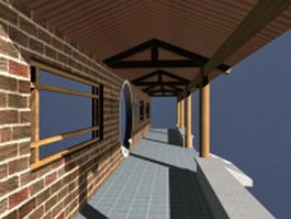 Chinese pergola covered walkway 3d preview