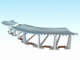 Landscape plaza canopy 3d preview
