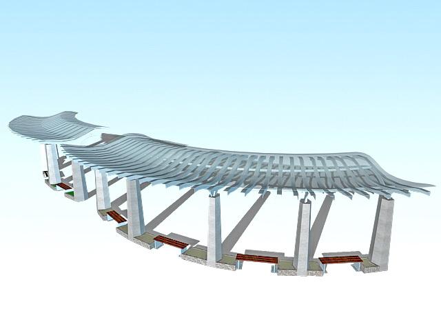 Landscape plaza canopy 3d rendering