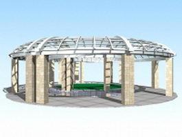 Modern plaza pergola 3d preview