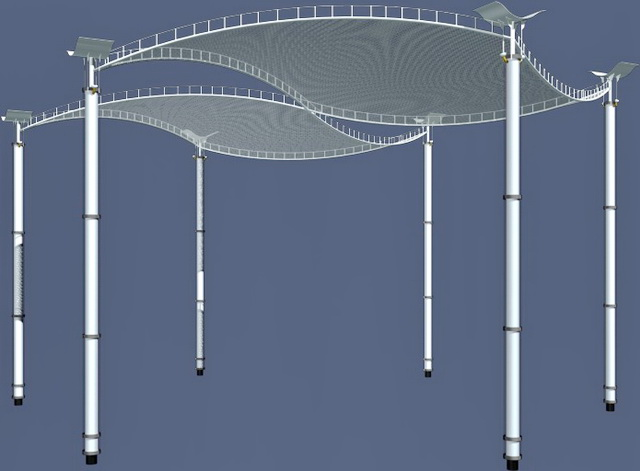 Modern plaza canopy 3d rendering