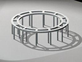 Circular stone pergola 3d preview