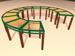 Wood circular pergola 3d preview