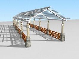 Garden pergola walkway 3d preview