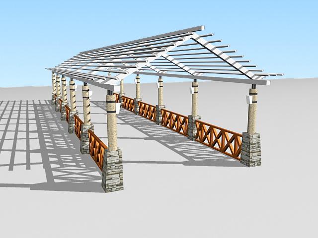 Garden pergola walkway 3d rendering