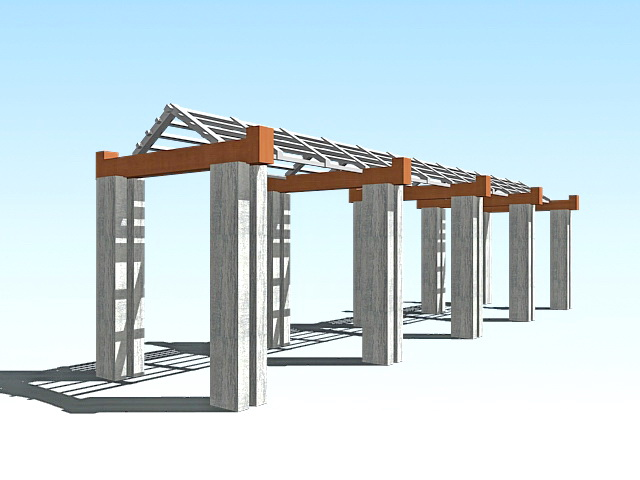 Pergola covered walkway 3d rendering