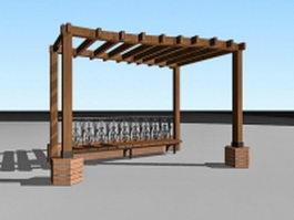 Garden pergola with bench 3d preview