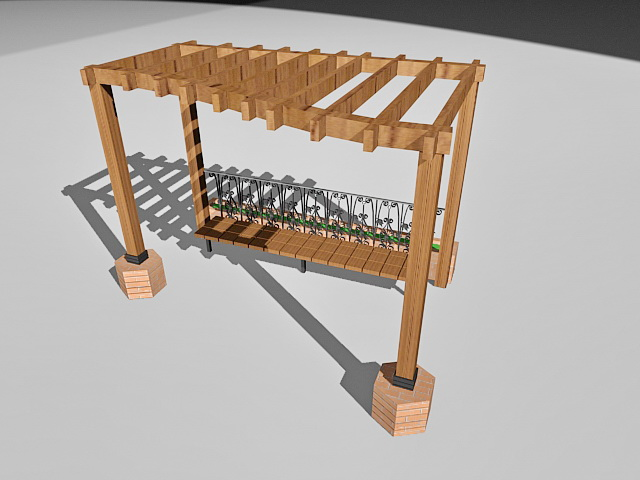 Garden pergola with bench 3d rendering