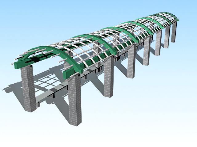 Arched pergola walkway 3d rendering