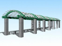 Arched pergola walkway 3d model preview