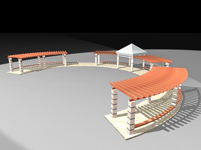 Pergola walkway structure 3d rendering