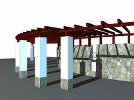Walkway pergola ideas 3d preview