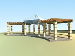 Walkway pergola for garden 3d preview