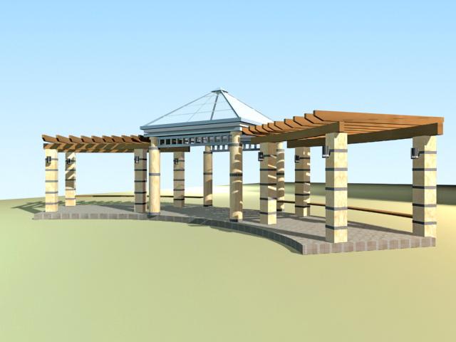 Walkway pergola for garden 3d rendering