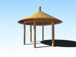 Japanese garden pavilion 3d preview