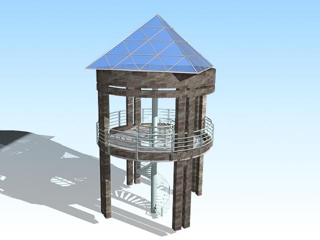 Viewing gazebo platform 3d rendering