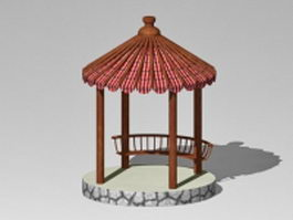 Asian style pavilion 3d preview