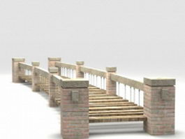 Brick garden bridge 3d preview