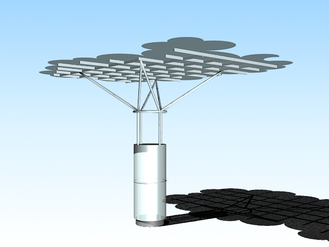 Modern metal shade structure 3d rendering