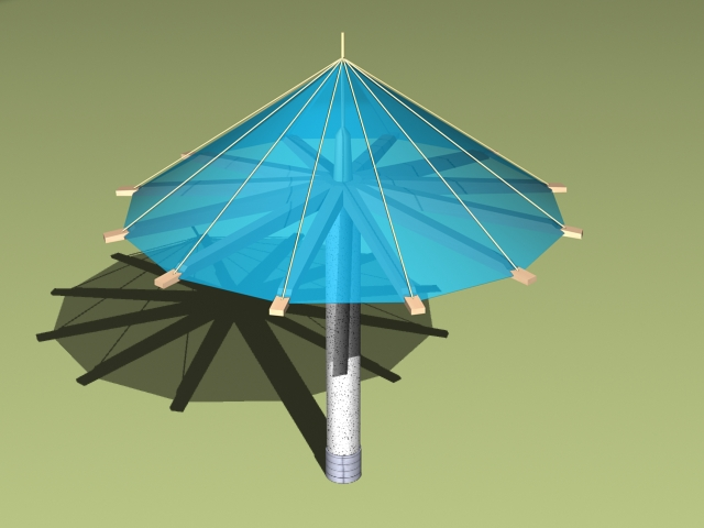 Umbrella shade structures 3d rendering