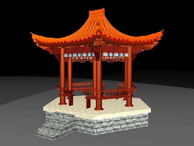 Chinese style gazebo 3d rendering