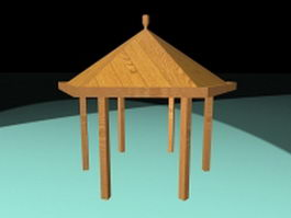 Wood patio gazebo 3d model preview