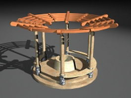 Garden well gazebo 3d preview