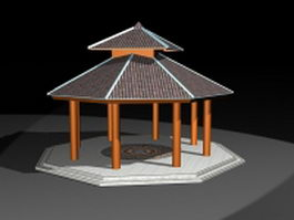 Octagon double roof gazebo 3d preview
