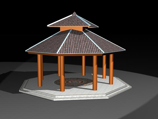 Octagon double roof gazebo 3d rendering