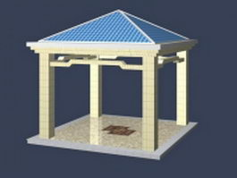 Square gazebo design 3d preview