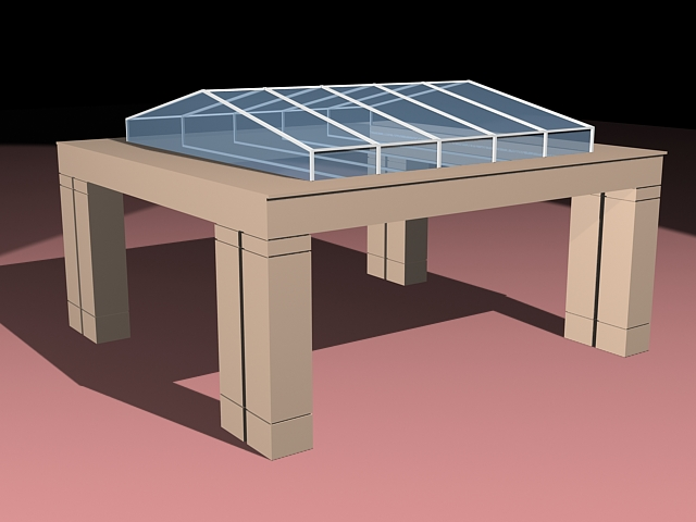 Glass roof gazebo 3d rendering