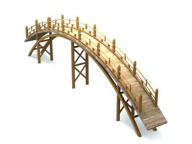 Japanese garden bridge 3d rendering