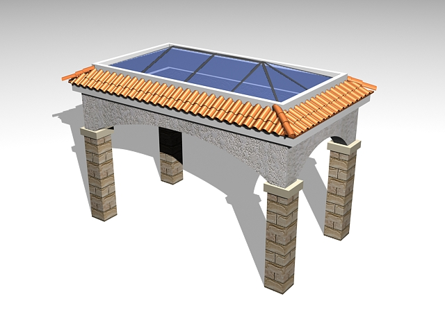 Rectangle gazebo 3d rendering