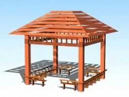 Wood gazebo with bench 3d preview