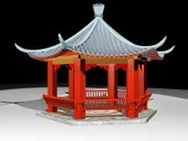 Ancient China pavilion 3d preview